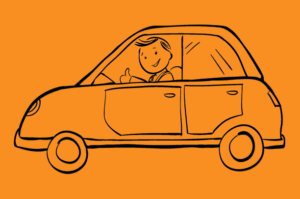 Animated Man in Small Car